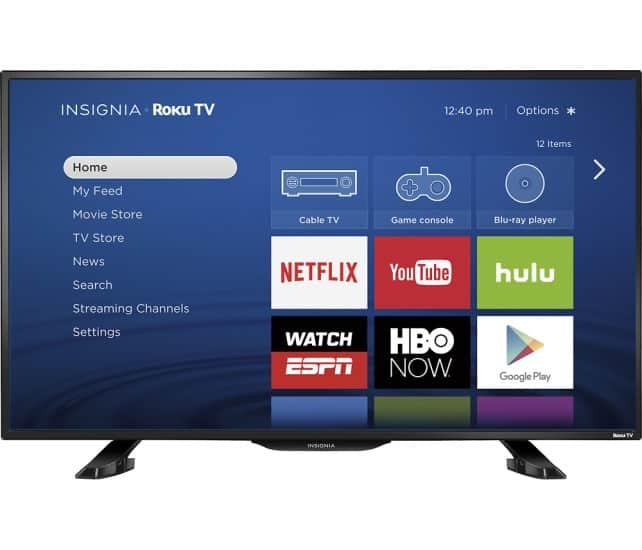 "Insignia™ - 39"" Class - (38.5"" Diag.) - LED - 1080p - Smart - HDTV - Roku TV - Black $199 Starts 6/12"