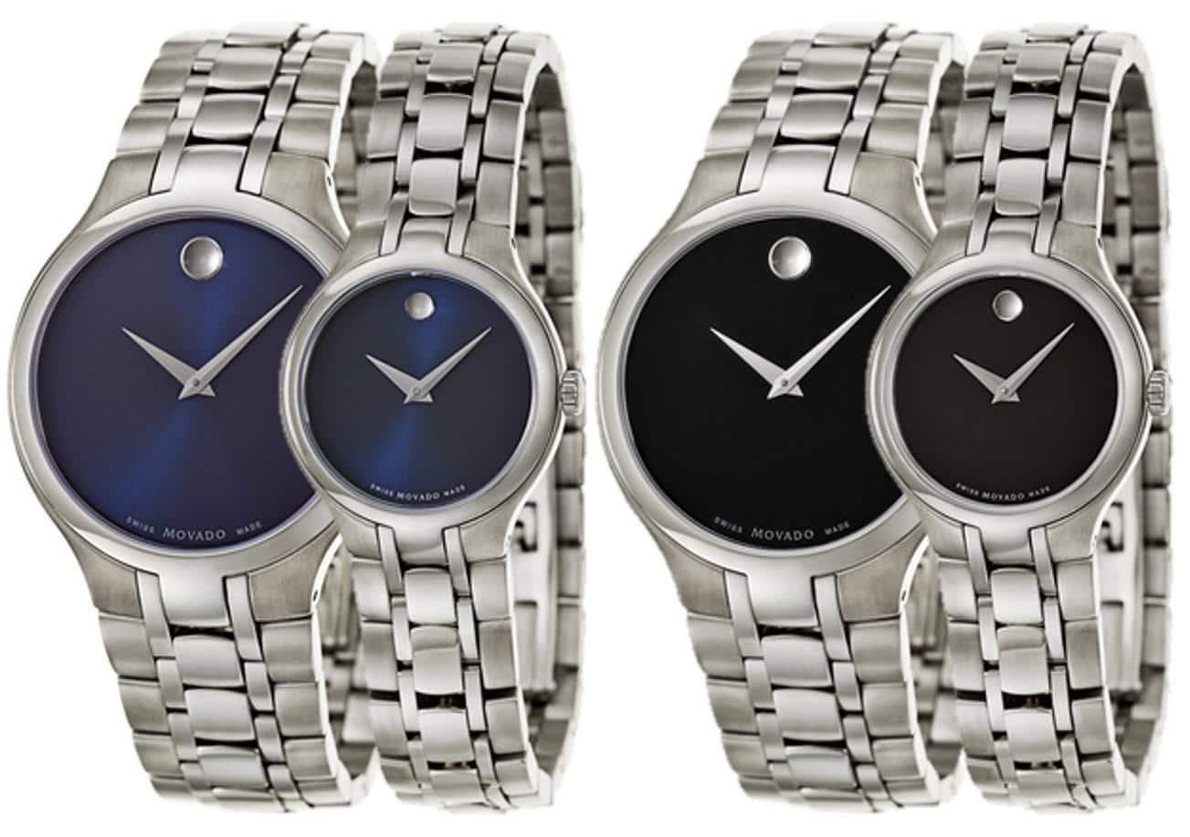 Movado Collection Men's and Women's Watch (black or Blue dial) $289 each + free shipping