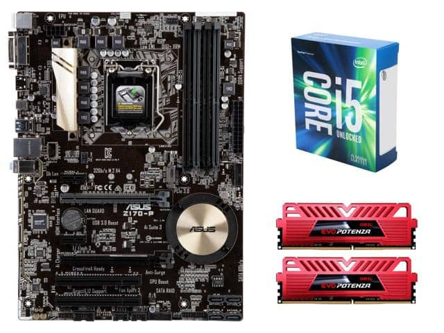 Intel Core i5-6600K Skylake 3.5GHz Quad-Core CPU + ASUS Z170-P LGA 1151 ATX MOBO + 16 GB (2 x 8GB) GeiL EVO POTENZA DDR4 2400 Desktop Memory for $345.99 AR + FS @ Newegg.com