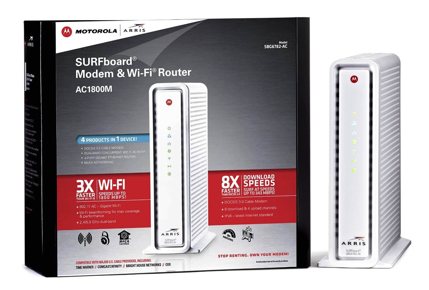 Prime Members: ARRIS SURFboard SBG6782AC DOCSIS 3.0 Cable Modem/ Wi-Fi AC1750 Router - Retail Packaging - White for $99.99 + FS (Prime) (Amazon)