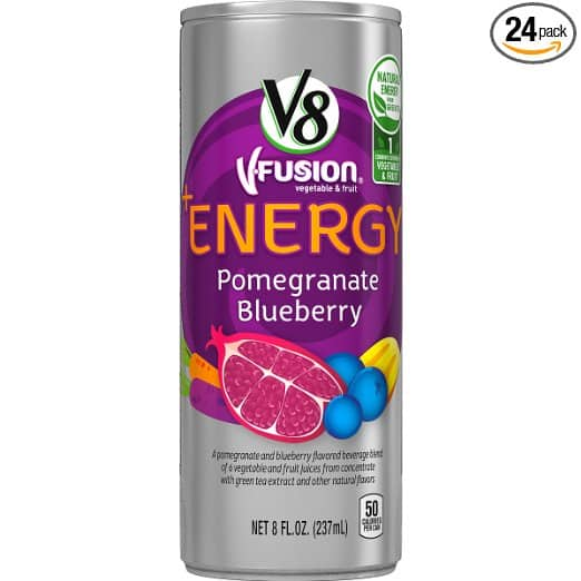 V8 Vegetable Juice 5.5 Ounce (Pack of 48) $14.18 or $11.60, V8 +Energy 8 Ounce (Pack of 24) Pomegranate Blueberry or Peach Mango $8.75 or $7.16 AC + Amazon S&S