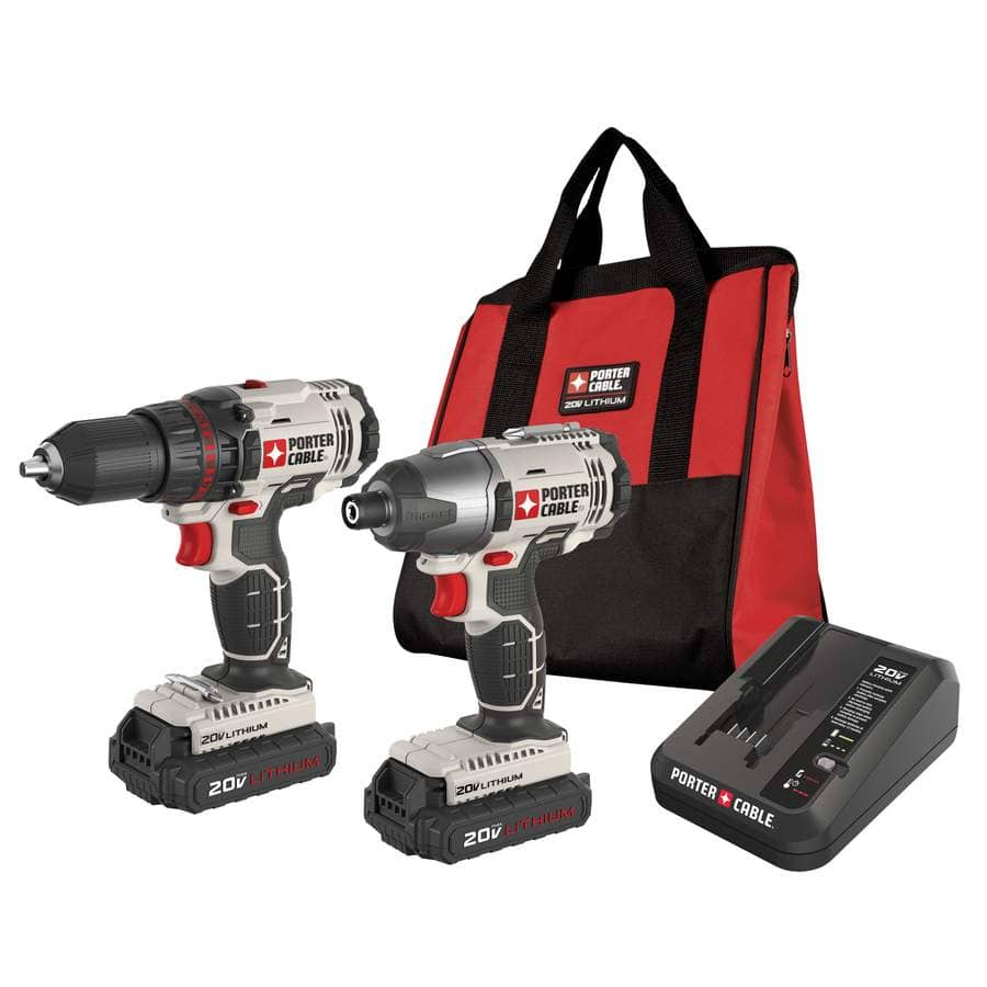 LOWES - PORTER-CABLE 2-Tool 20-Volt Max Lithium Ion (Li-ion) Cordless Combo Kit with Soft Case $99 and more