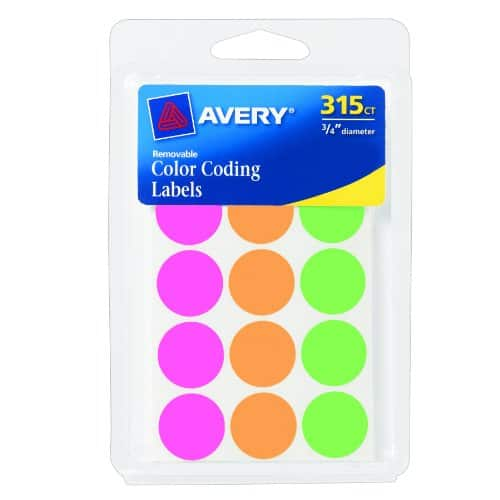 "315-Count Avery 3/4"" Round Color-Coding Labels (Assorted Colors)  $2"