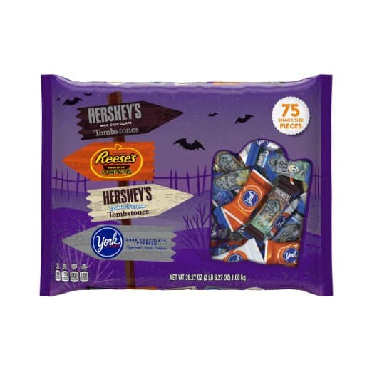 NEW LOWER PRICE HERSHEY'S Halloween Snack Size Assortment (38.27-Ounce Bag, 75 Pieces) NOW $7.01 Was $8.44 earlier FP last week - Prime Only