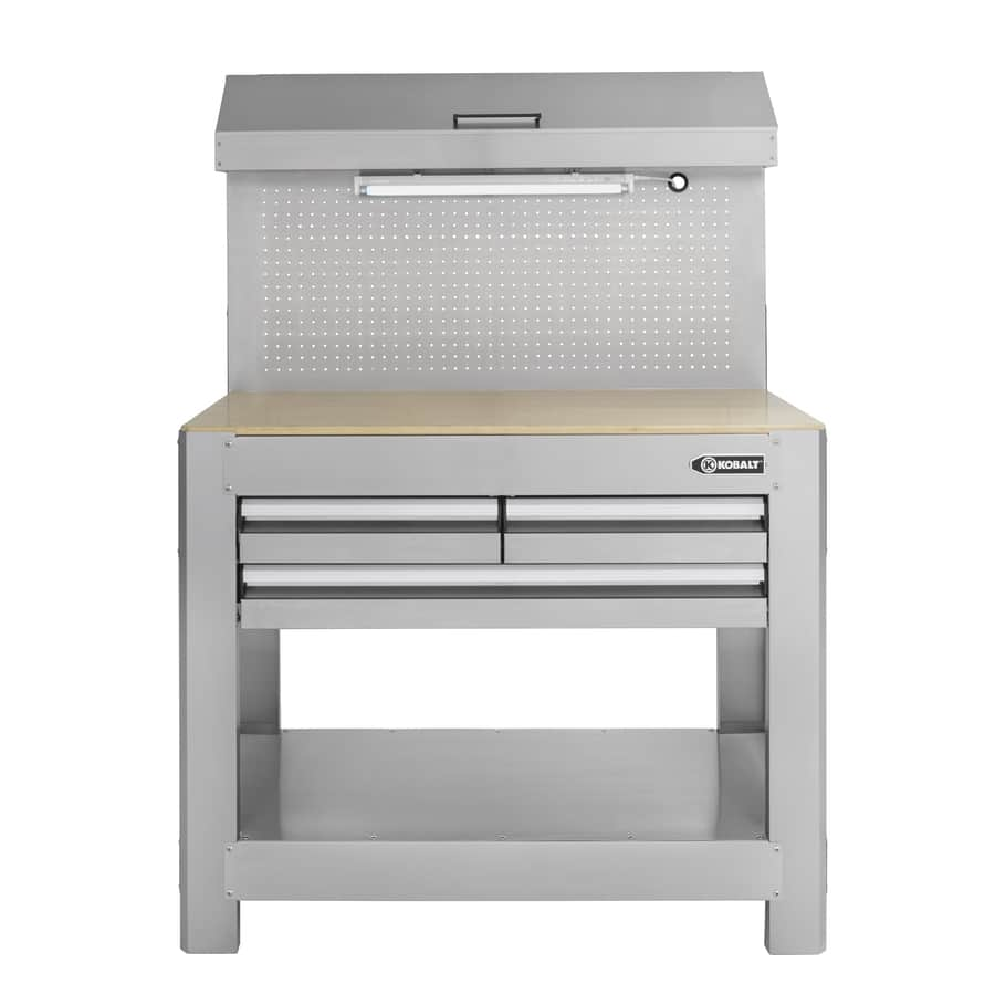 Kobalt Drawer Stainless Steel Work Bench W Wood Surface - Stainless steel work table with drawers