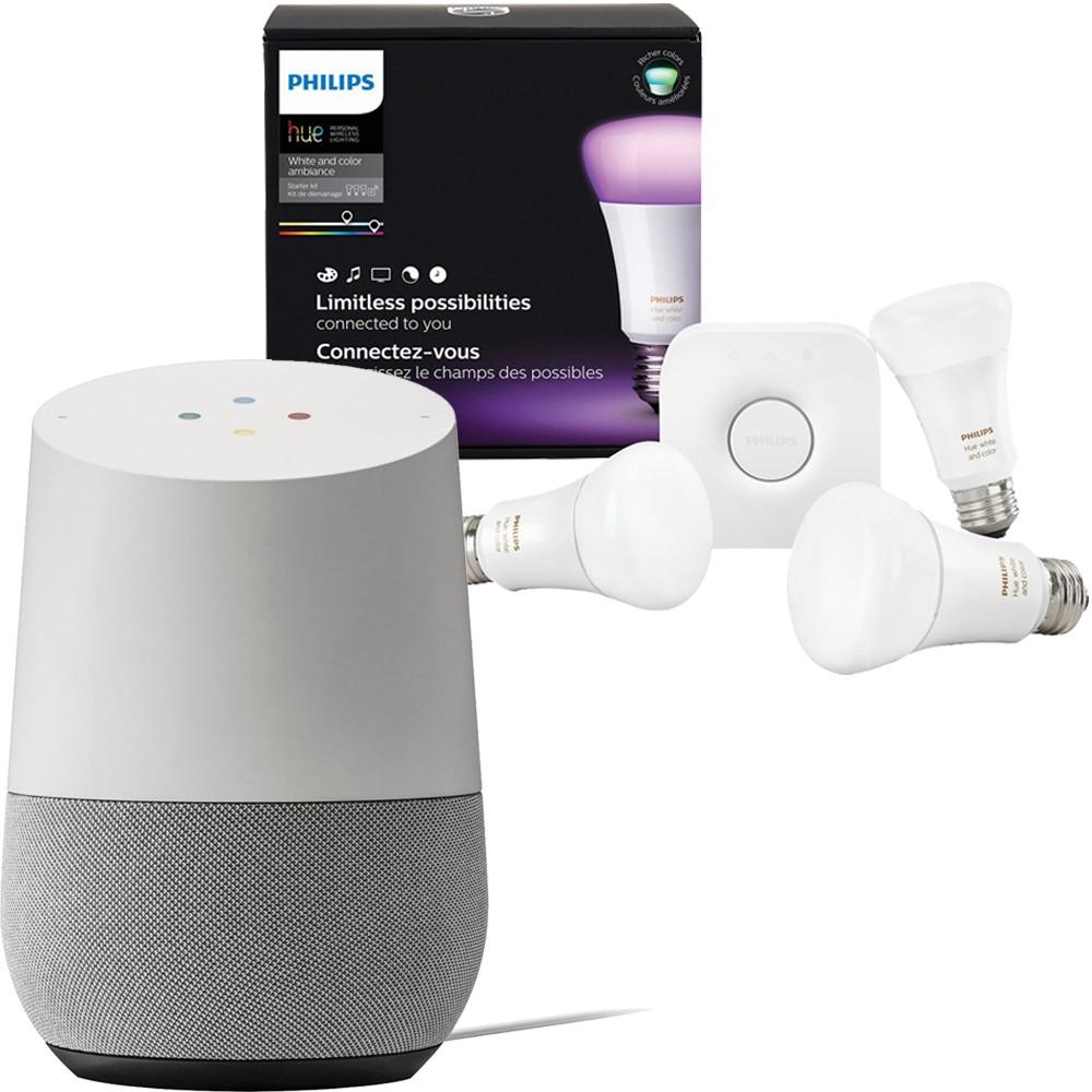 Google Home + Philips Hue White & Color A19 Starter Kit (3rd