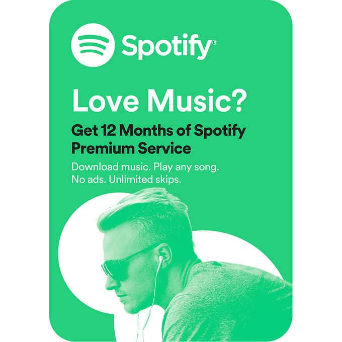 Costco Members: 12-Month Spotify Premium Subscription Gift Card