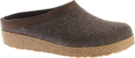 Haflinger Unisex GZL Leather Trim Grizzly Clog (Smokey Brown