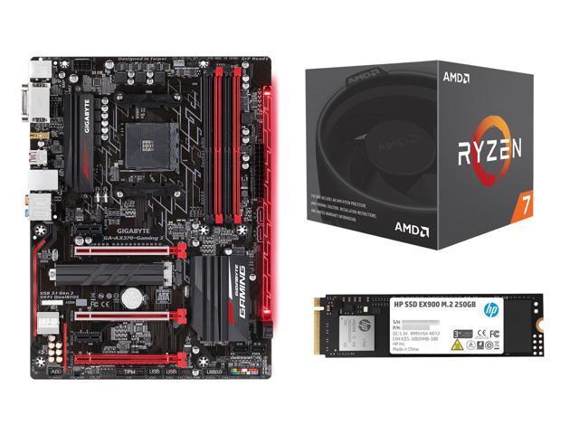 AMD Ryzen 7 2700 CPU + Gigabyte GA-AX370 MB + 250GB HP EX900 M 2 SSD