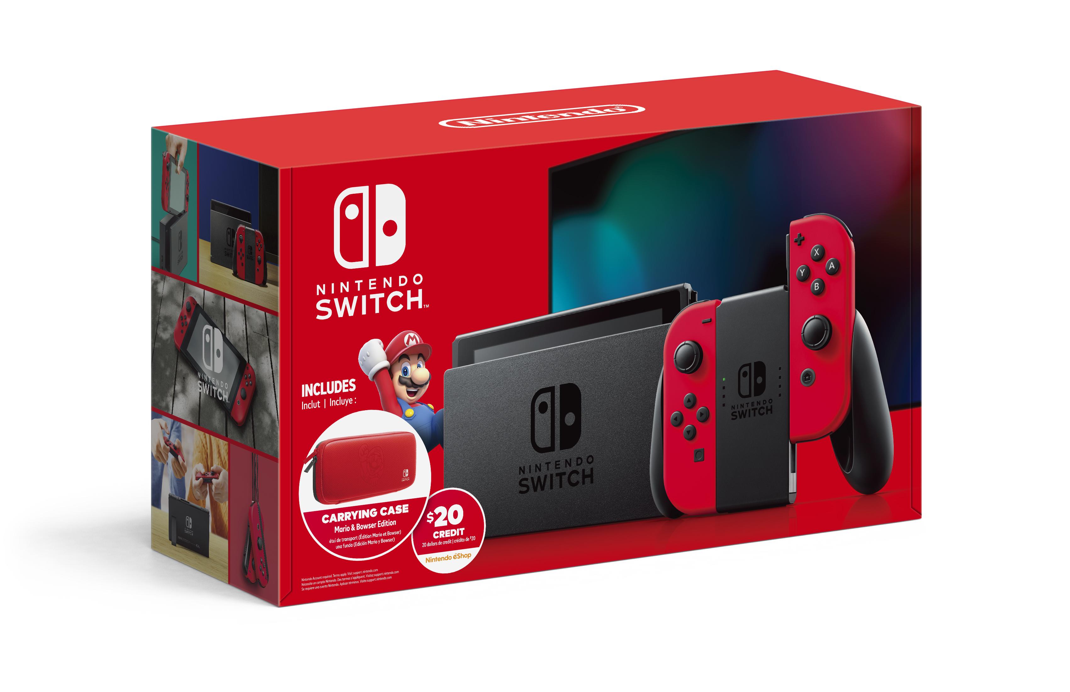 32gb Nintendo Switch W Mario Red Joy Con 20 Nintendo Eshop Credit Case