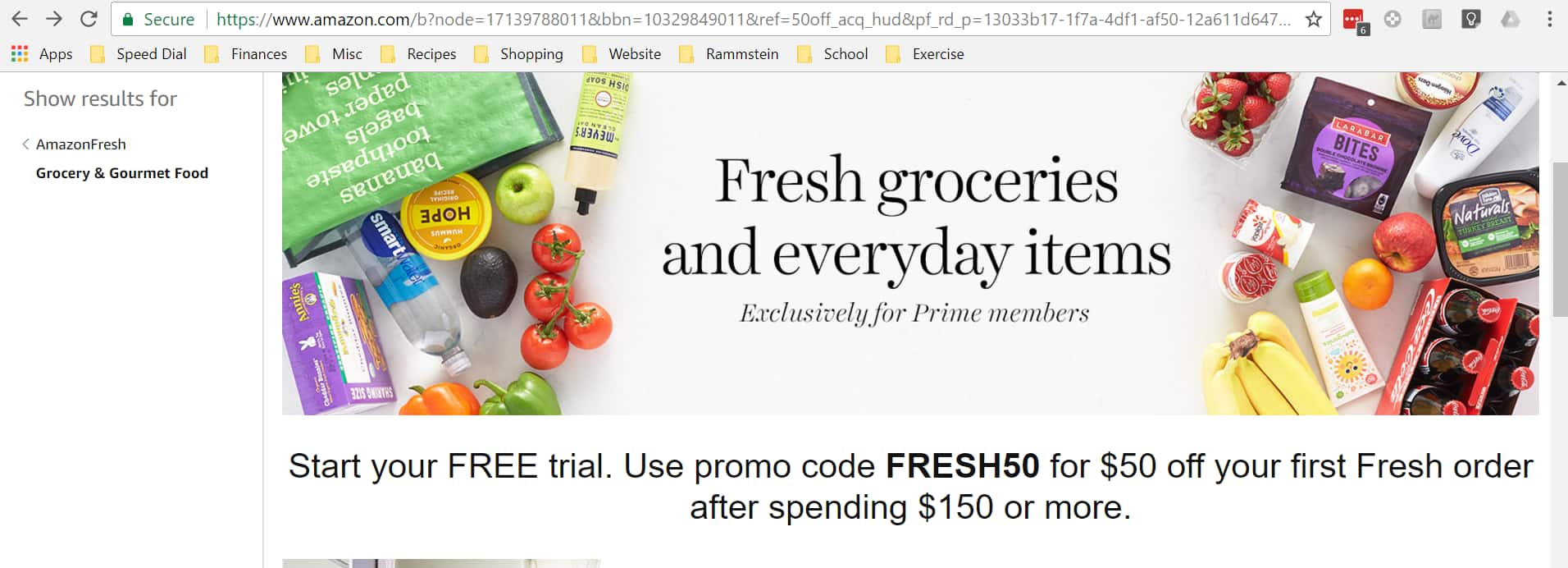 AmazonFresh - $50 off First Fresh Delivery of $150+