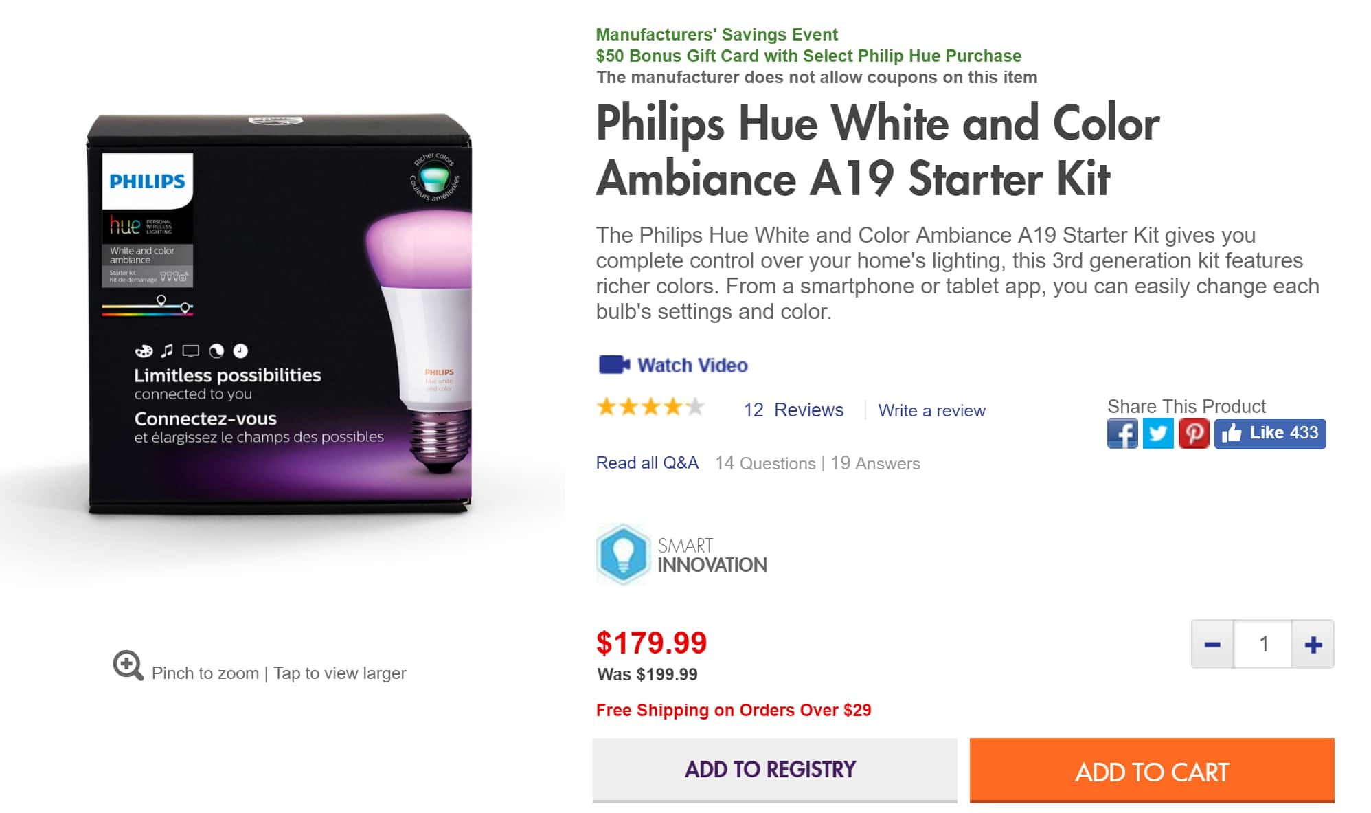 Bed Bath and Beyond Philips Hue White and Color Ambiance A