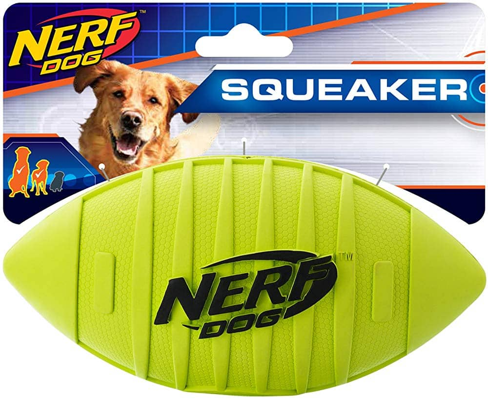 """7"""" Nerf Dog Squeak Rubber Football Dog Toy (Green) $3.25 + Free S/H on $49+"""