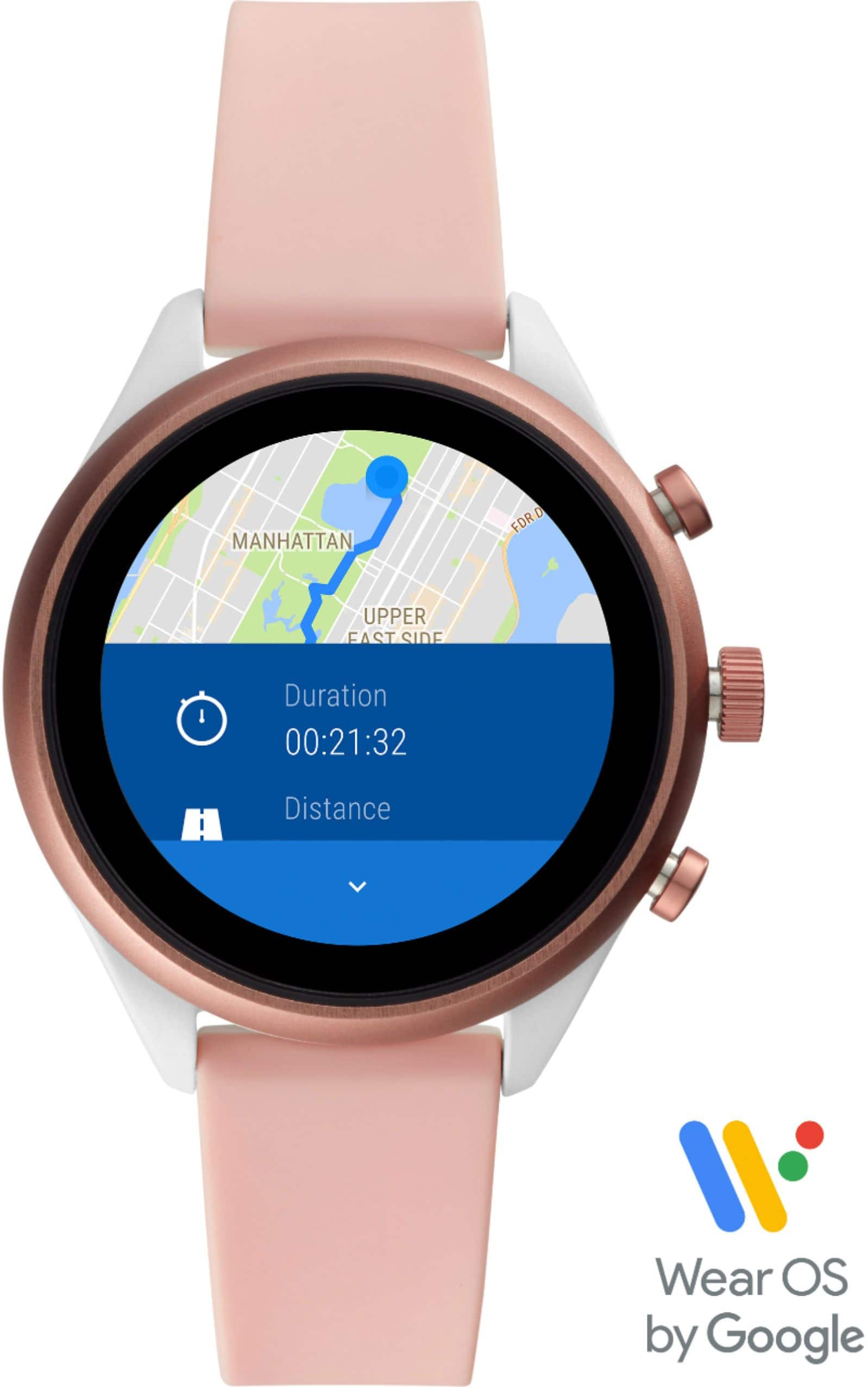 Fossil - Sport Smartwatch 41mm Aluminum - Blush with Blush Silicone Band - $99 + FS @Bestbuy