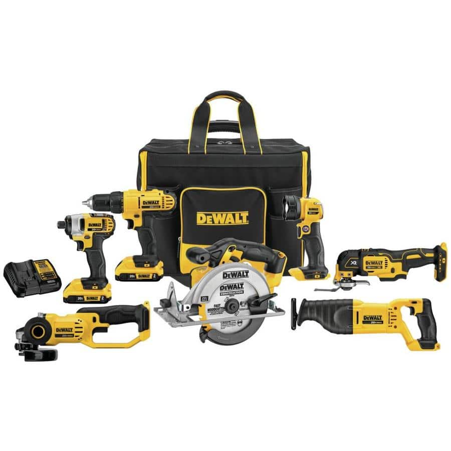 LOWES DEWALT-20-Volt-7-Tool-Power-Tool-Combo-Kit-with-Soft-rolling-Case-2-Batteries-Included-and-Charger-Included Normally $769 now $399