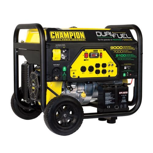 Costco $599. Champion 9000 Watt DUAL FUEL Portable Generator with Electric Start, Battery and features Clean Sine Wave output.  EPA and CARB Approved.