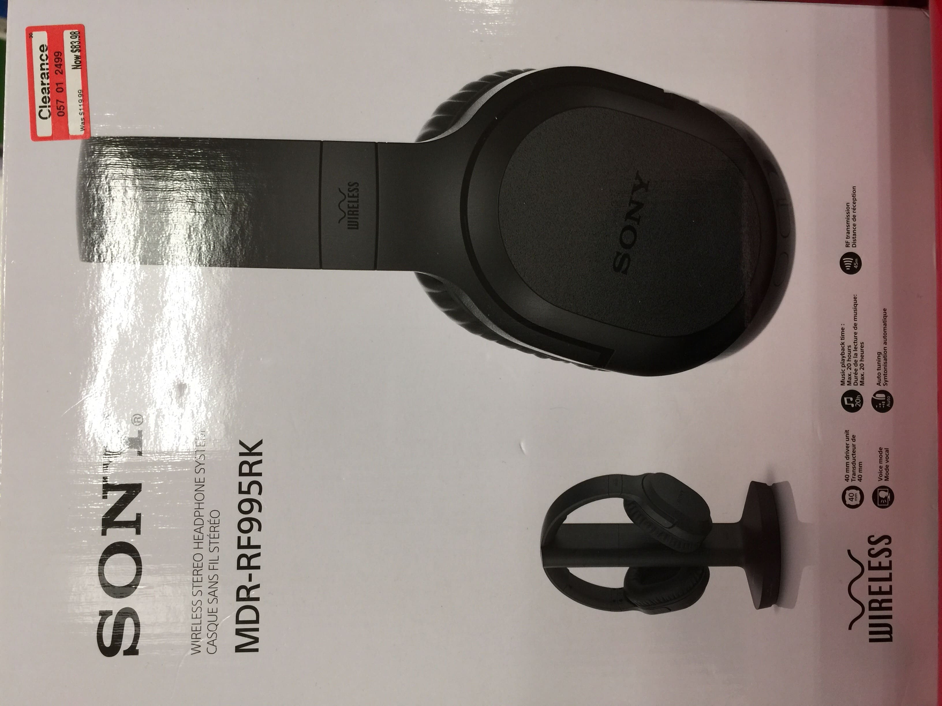 Sony MDR-RF995RK Wireless RF Headphone System @Target ***(YMMV)*** $59.98