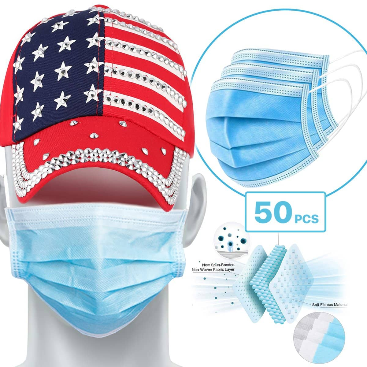 50-Count 3-Ply Disposable Face Masks $3.99