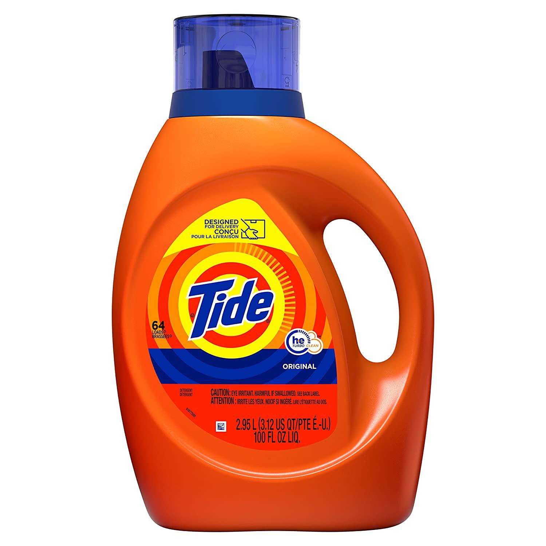 Tide Laundry Detergent Liquid, Original Scent, HE Turbo Clean, 100 oz (64 Loads) 2 for $17.66