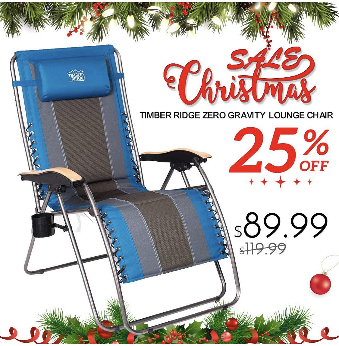 Timber Ridge Oversized Zero Gravity Chair XL 25% off ($89 ...