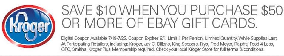Save $10 on 2 or more Ebay or Sephora Gift Cards thru kroger stores with membership card B&M plus Old Navy GAP Banana Republic