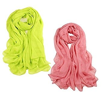 2 PCS Womens Beautiful Solid Color Thin Long Shawl Wrap Scarf 43 x 55 inches $5.94 + Free Shipping