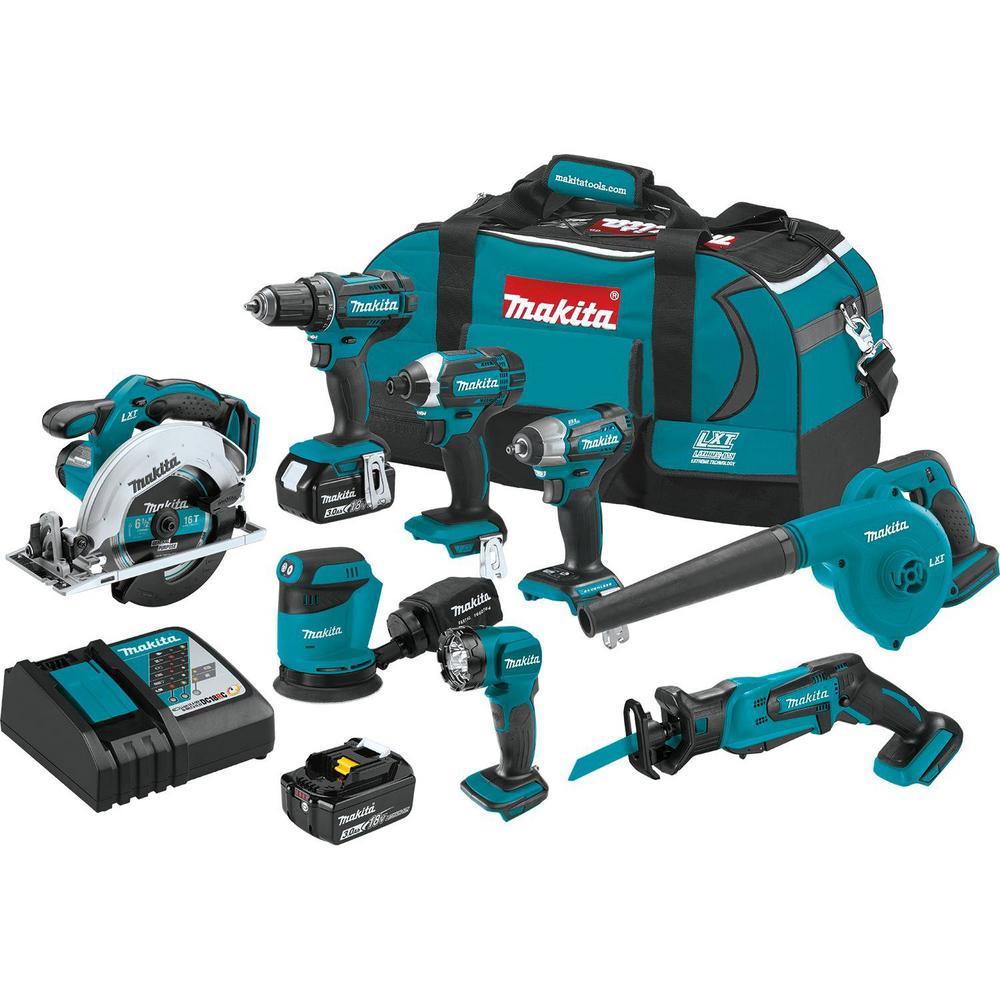 Makita 18-Volt LXT Lithium-Ion 8-Piece Kit Drill/ Impact Drvr/ Circ Saw/ Recip Saw/ Sander/ Impact Wrench/ Blower/ Light 3. 0Ah-XT801X1 - The Home Depot $399.99