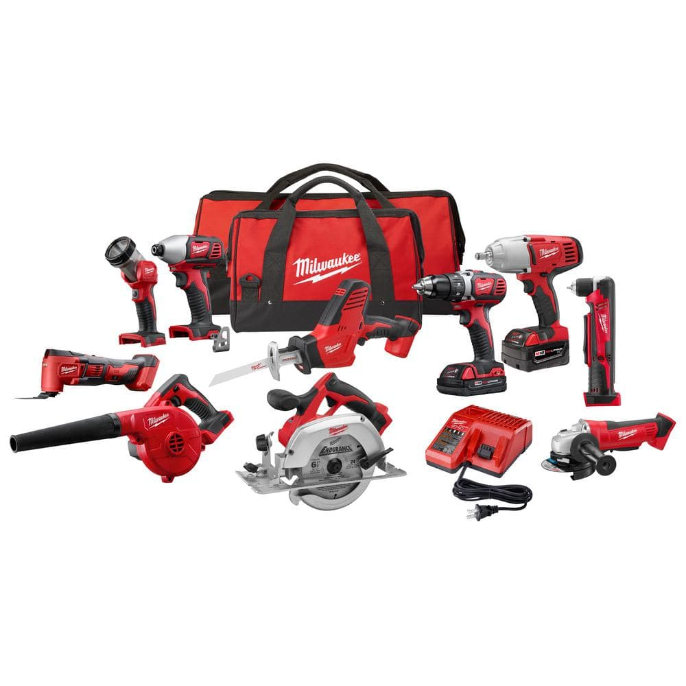 M18 18-Volt Lithium-Ion Cordless Combo Kit (10-Tool) with (2) Batteries, Charger and (2) Tool Bags - $599 Free Shipping