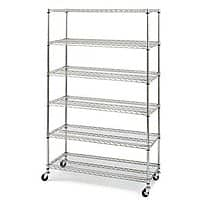 Rakuten (Buy.com) Deal: Commercial 6 Layer Shelf Adjustable Steel Wire Metal Shelving Rack (Chrome or Black) $74.99 + FS