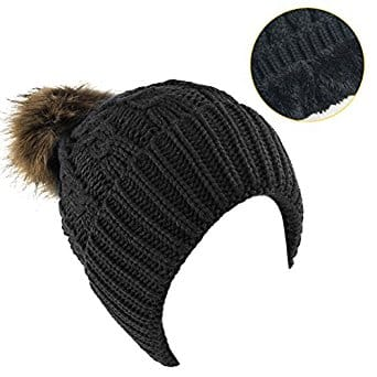 Women's Winter Fleece Lined Cable Knitted Pom Pom Beanie Hat $7.99 + Free Shipping