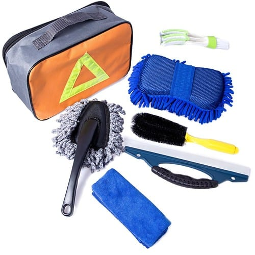 Car Cleanning Kit with Bag - Tire Brush | Chenille Wash Sponge | Duster | Window Water Scraper | Wash Cloth | Double Head Car Vent Brush [7 Pack] $13.99