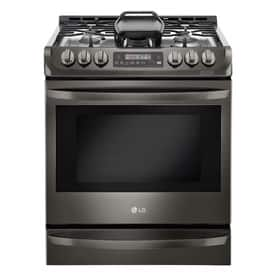 LOWES, YMMV - B&M LG Easy Clean 5-Burner 6.3-cu ft Self-Cleaning True Convection Slide-in Gas Range (Fingerprint-Resistant Black Stainless) (Common: 30-in; Actual 29.875-in) $959