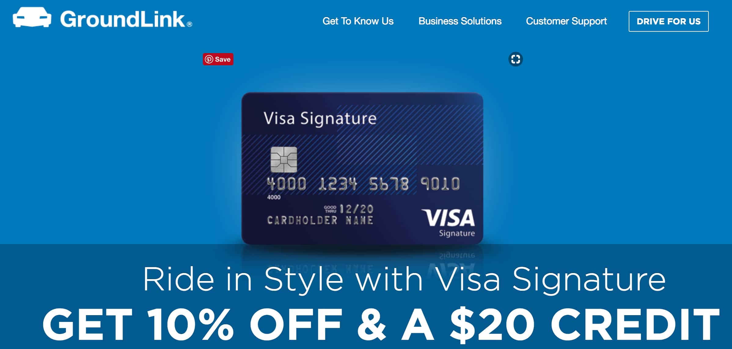 Visa credit cards offer credits to Grounlink (car/limo service)