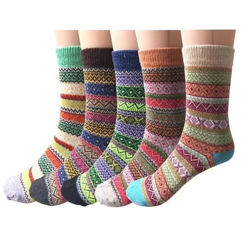 5 Pairs Womens Vintage Style Thick Wool Warm Winter Crew Socks  start from $8.49,