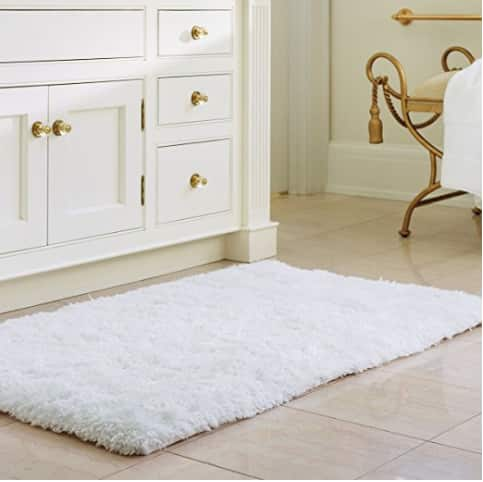 Soft Shaggy Bath Mat Non-slip Rubber Bath Rug Luxury Microfiber Bathroom Floor Mats Water Absorbent White $13.29