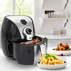 HOLSEM Air Fryer with Rapid Air Circulation System, 3.4 QT Capacity, Temperature up to 400°F,  Low Fat Healthy Air Fryer, Black/Stainless Steel, 1500W(Knob) $66.49