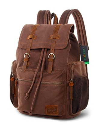 17 inch Canvas Backpack Vintage Leather Laptop School Bag Travel Daypack - Amazon - $24.99