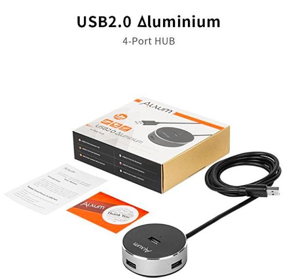 Amazon- USB 2.0 Hubs 4-Port USB Data Hubs Splitter with Built-in  Long Cable for iMac, MacBook MacChrombook,Surface Book, Aluminium, Black [Ul $2.99