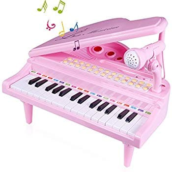 Amazon - Keys Musical Piano Toy with Microphone, Learn-to-Play for Girl Toddlers Kids Singing Music development, Audio link with Mobile MP3 IPad PC, Pink $20.79