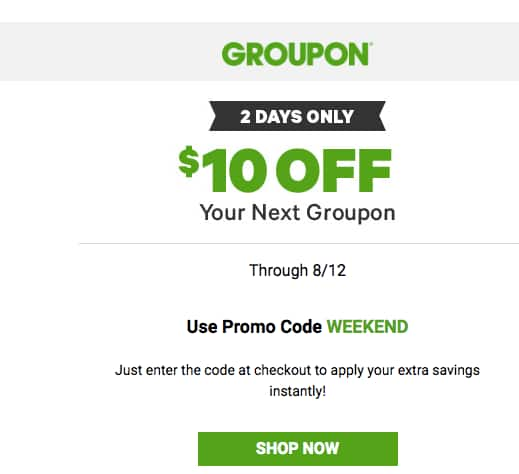 Invite only - Groupon $10 off your purchase credit by invite only - YMMV