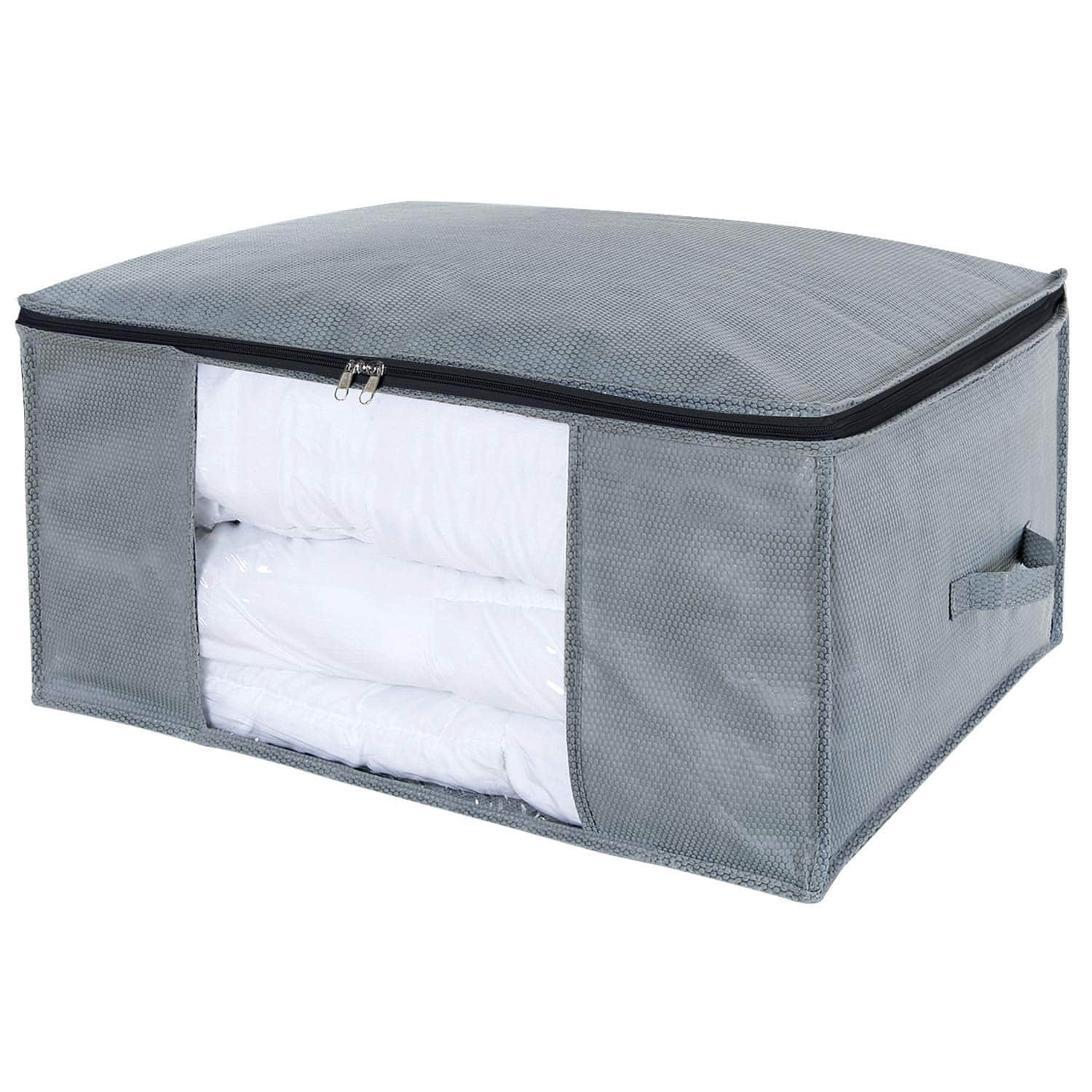 Large Clothes Storage Bag for Comforters, Blankets, Bedding, Pillow, Breathable Foldable Closet