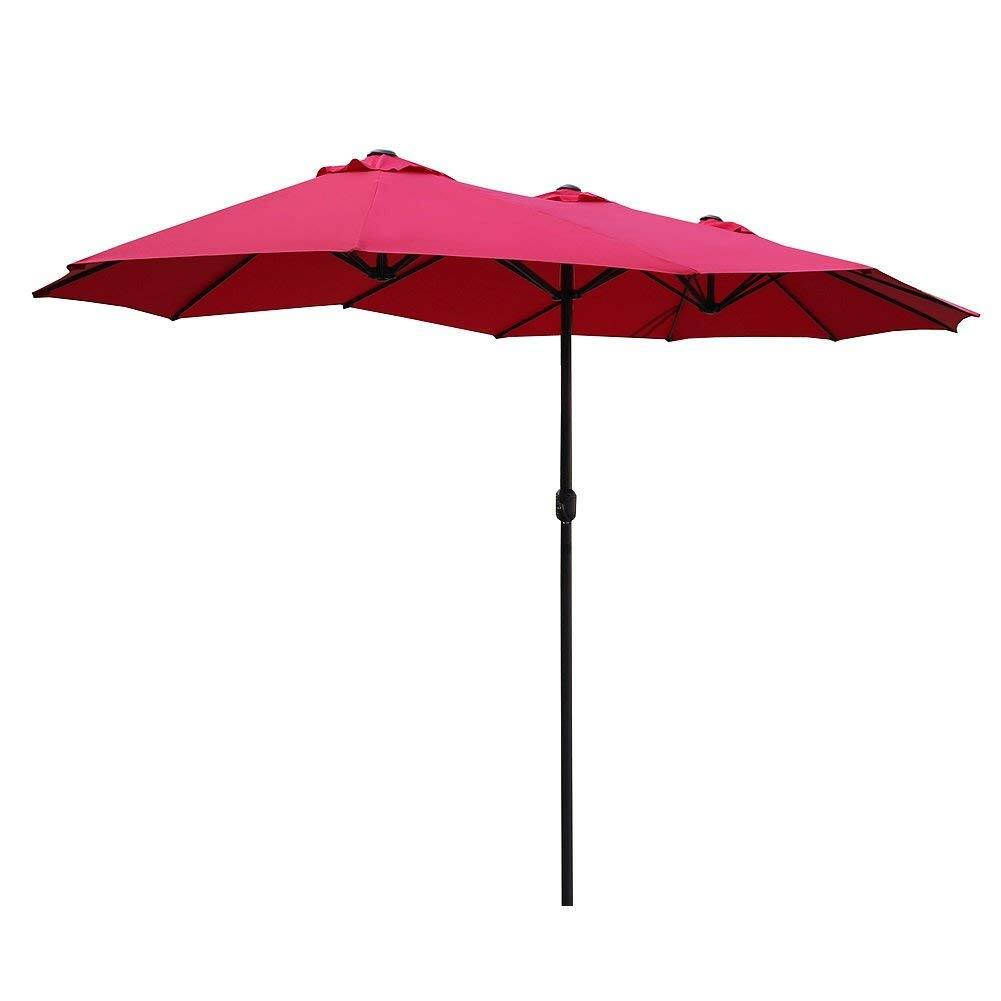 14 Ft Patio Outdoor Umbrella Double Sided Aluminum Table Patio Umbrella  With Crank From $83.99
