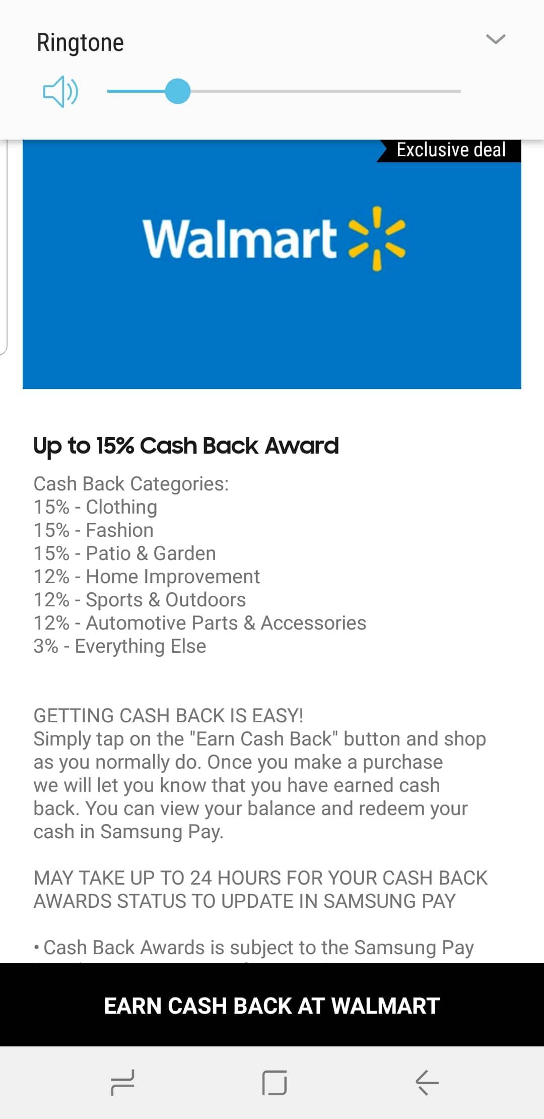 39b359b3ba2c Upto 15%Cash back of walmart.com purchases through Samsung Pay ...