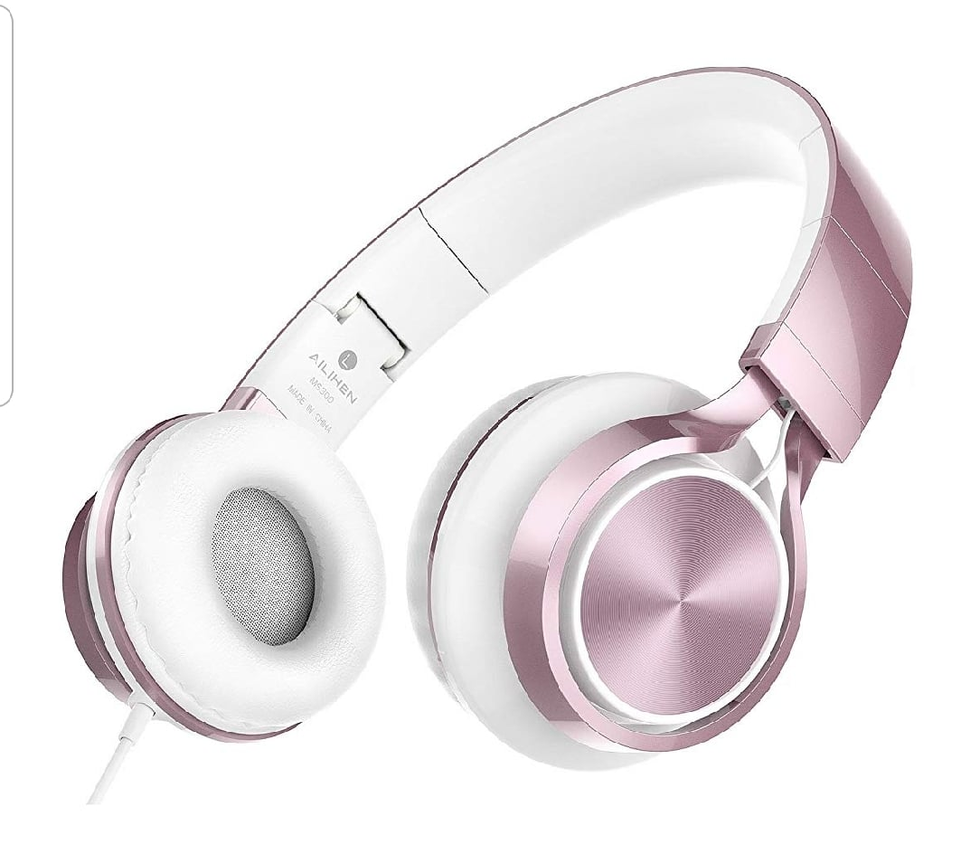MS300 Wired Headphones, Stereo Foldable Headset for iOS Android Smartphone Laptop Tablet PC Computer (Rose Gold) @9.99 $9.99