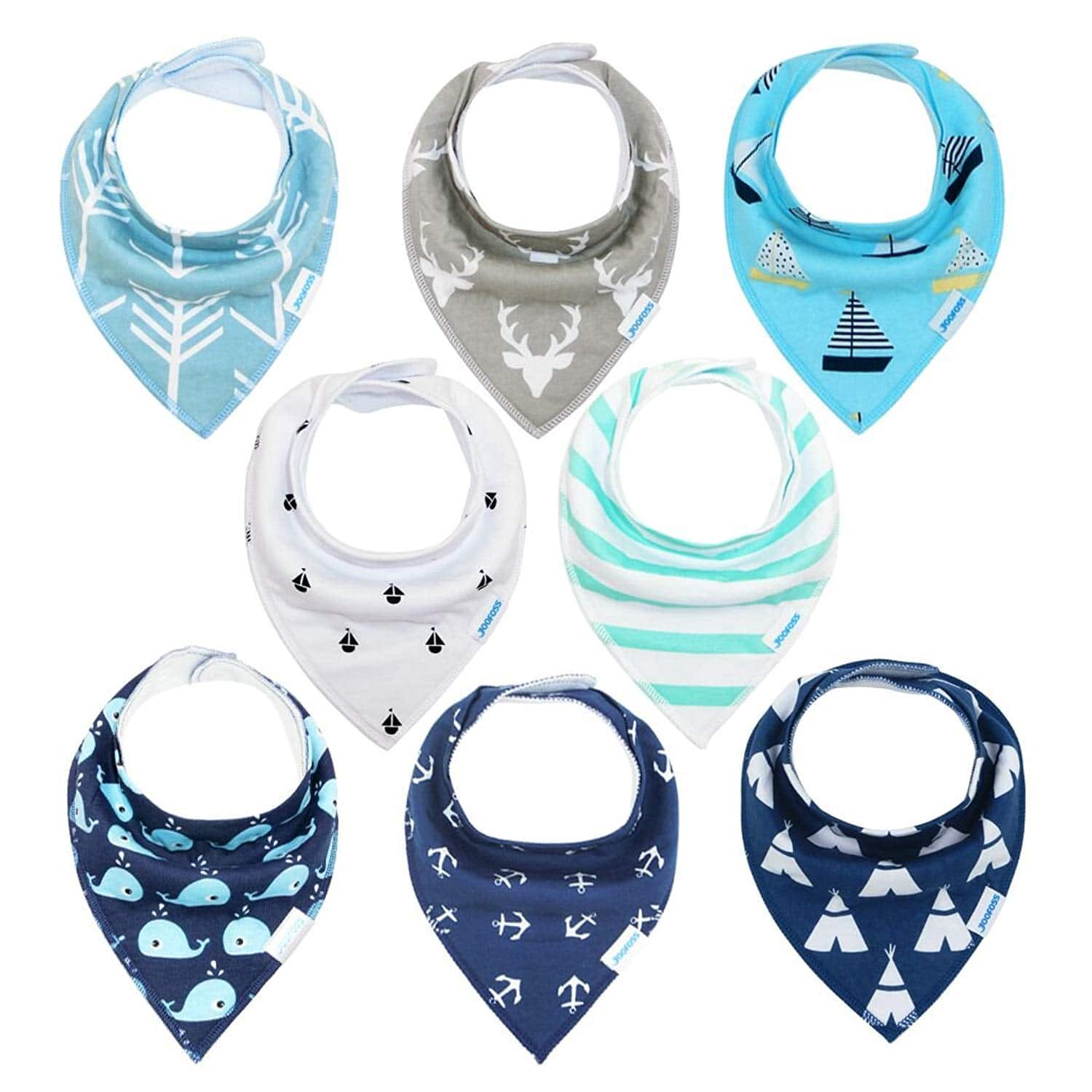 Baby bibs 8 Pack Soft and Absorbent for Boys & Girls - Baby Bandana Drool Bibs $11.99