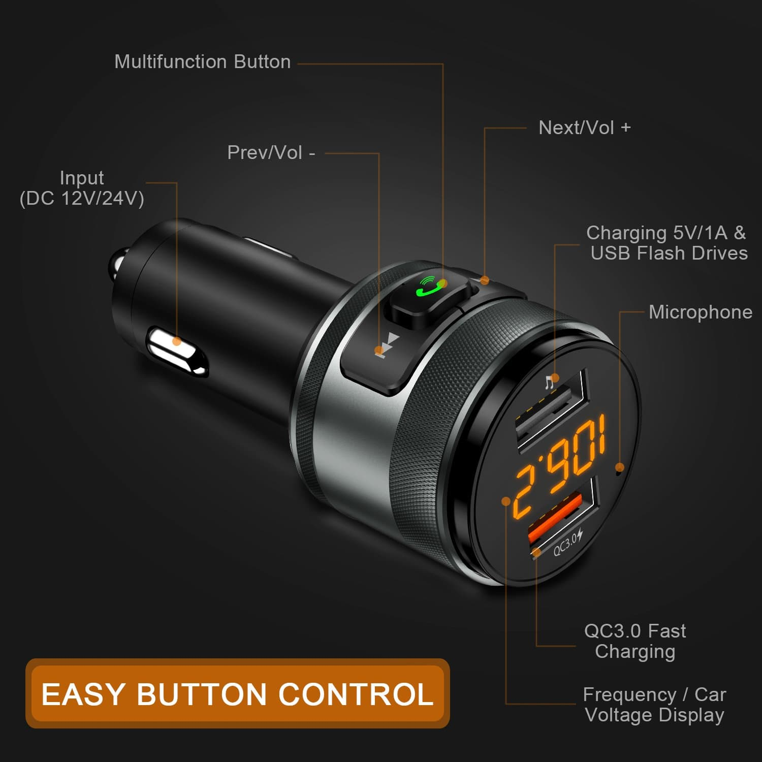 IMDEN Bluetooth FM transmitter for car, 3.0 Wireless Bluetooth FM Radio Adapter Music Player FM Transmitter/Car Kit with Hands Free Calling and 2 USB $12.56