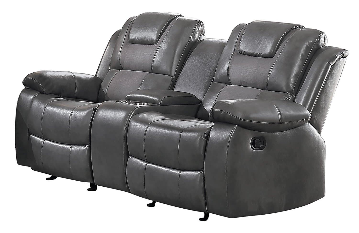 Homelegance Taye Glider Double Recliner Loveseat with Center Cup holders Storage Console Leather Gel Matched Microfiber, Grey $219.79