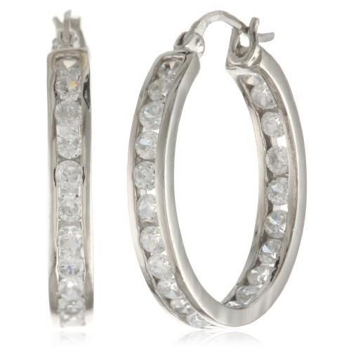 Sterling Silver Cubic Zirconia Medium Round Hoop Earrings (3/4 cttw): Jewelry