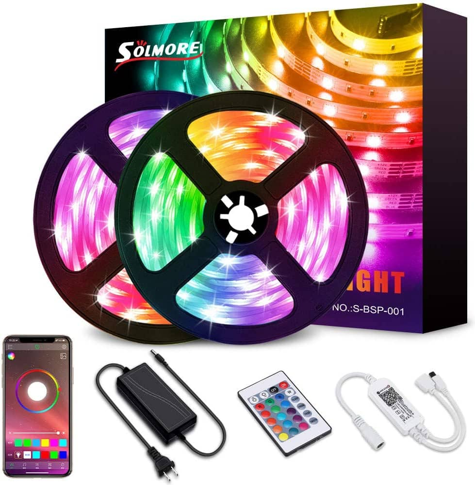 32.8FT LED Strip Light,SOLMORE Bluetooth RGB LED Strips Music Sync Color Changing LED Light Strips $11.99