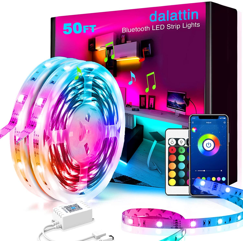 50ft Led Lights Smart dalattin Led Lights for Bedroom with App Control Music Sync Smart Led Strip Lights Color Changing Lights,2 Rolls of 25ft: Home Improvement $13.85